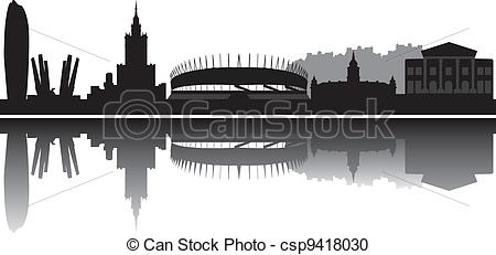 Cityscape clipart one Warsaw skyline  one Vector