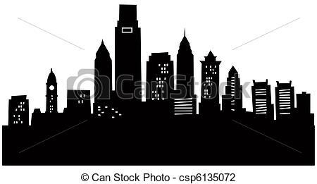 Drawn city Silhouette Art Philadelphia Philadelphia Clip