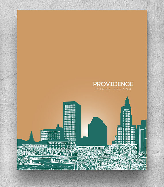 Cityscape clipart building logo / Wall Skyline Providence Poster