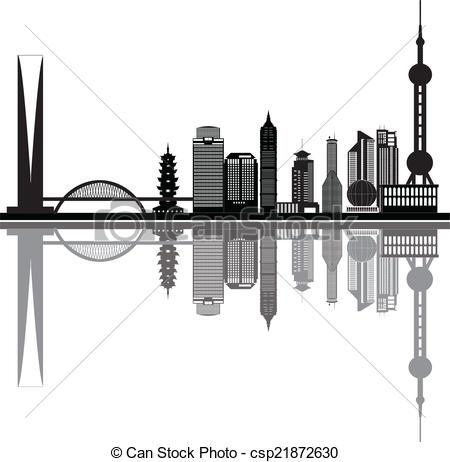 Cityscape clipart shanghai  skyline of Vector shanghai