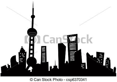Cityscape clipart shanghai Silhouette Cartoon Clipart Cartoon Cartoon