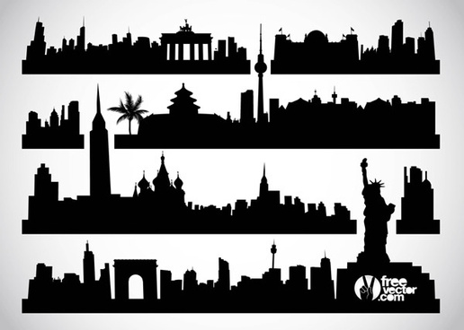 Cityscape clipart silhouette (5 vector have vector free