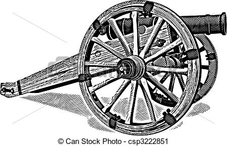 Civil War clipart black and white Vector of Cannon of