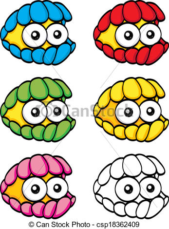 Clams clipart colorful  funny Cartoon of An