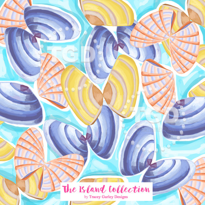 Clams clipart colorful Digital clam Clams Colorful paper