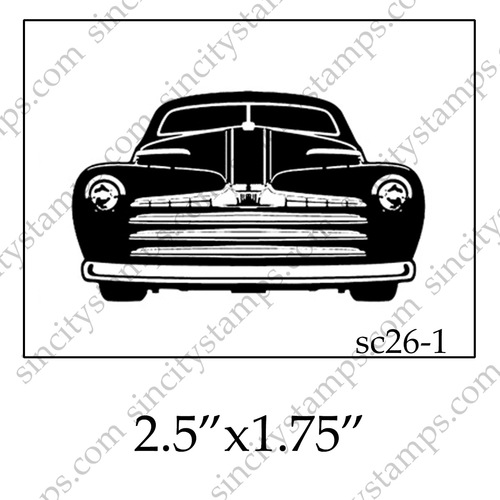 Classic Car clipart front view Car  quarter view Stamp