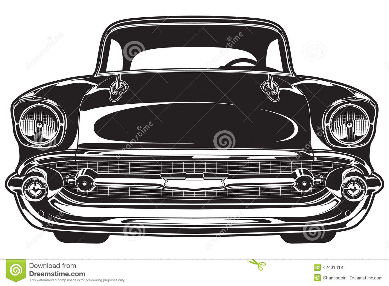 Classic Car clipart front view (84+) Vector front car classic