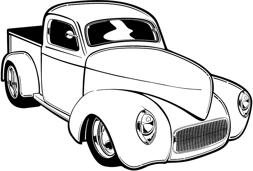 Classic Car clipart illustration a Rod Black White Car Clipart