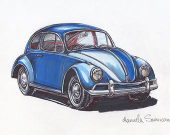 Drawn car beetle #12