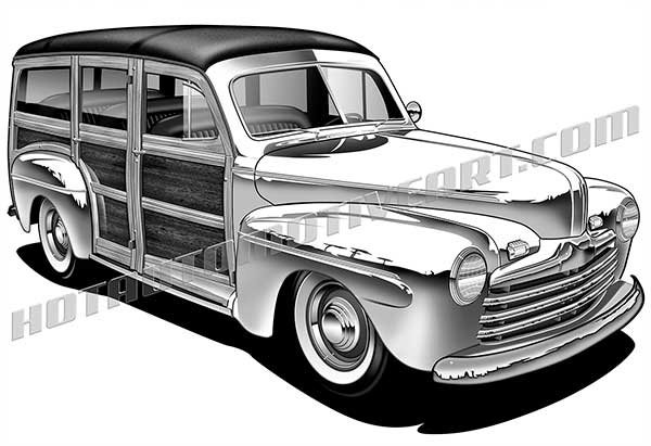 Classic Car clipart woody Ford ford 3/4 1946 46