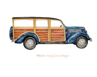 Classic Car clipart woody Ford car automobile surf 1936