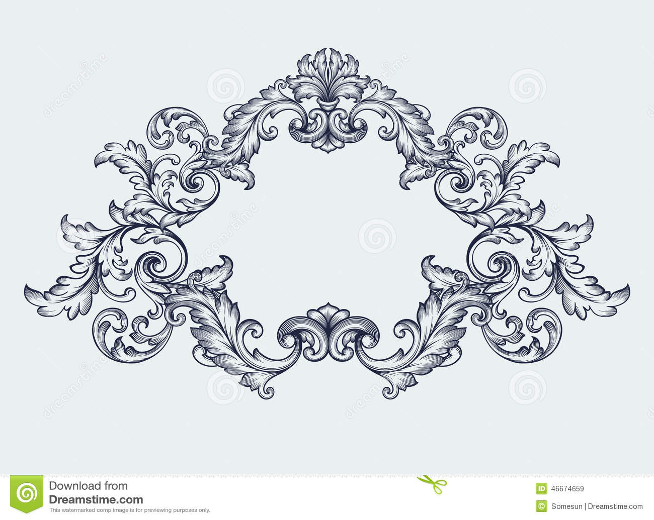 Classical clipart floral scroll #5