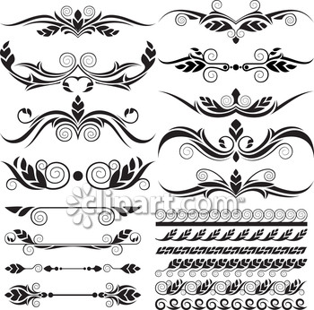 Classical clipart victorian scroll Festive scroll leaf victorian label