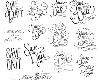 Calligraphy clipart classic The Classic Save Date Clip