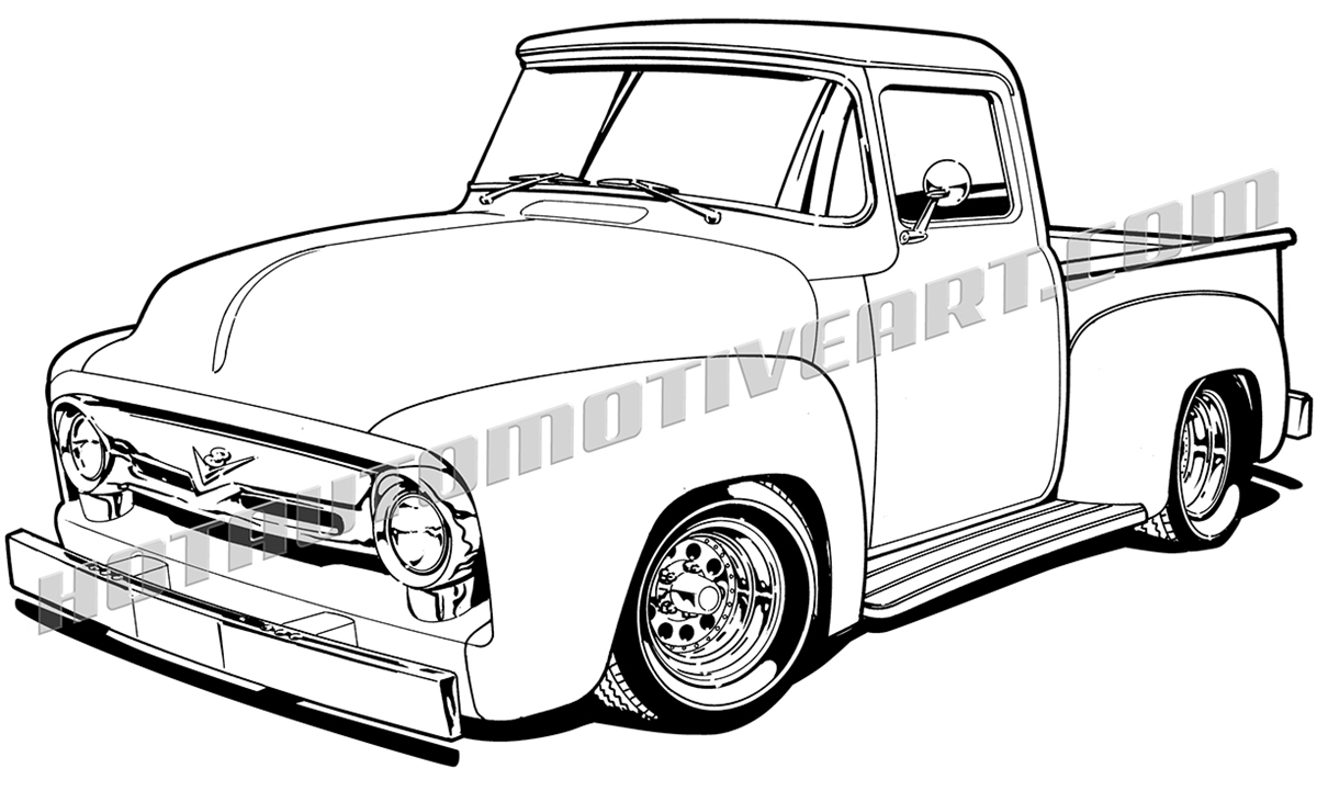 Classic clipart ford truck F 1956 3/4 image get