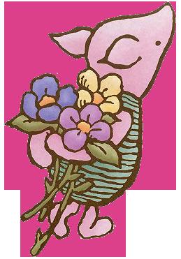 Classic clipart piglet Classic Piglet Clipart w/Flowers Piglet