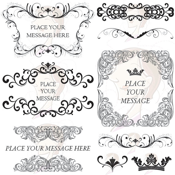 Classic clipart wedding decoration Flourish COMMERCIAL Swirls Baroque Decorative