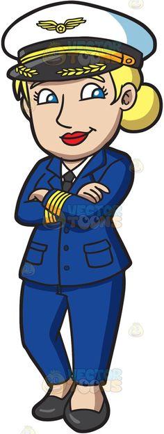 Classy clipart confident man Cartoon Pilot walking A her