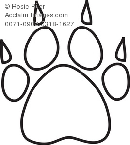 Drawn puppy paw print A of Claws With a