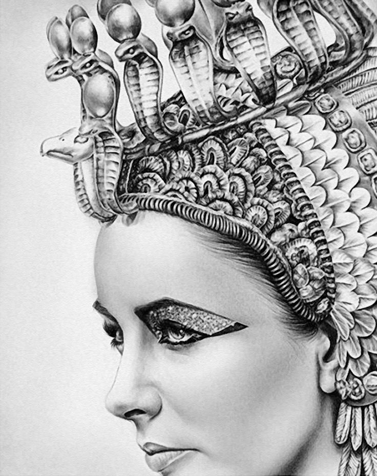 Cleopatra Clipart Black And White Pencil