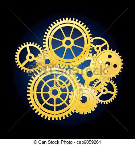 Clockwork clipart mechanical engineering Silhouette Alarm Illustration of Clockwork