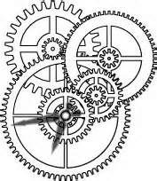 Drawn gears clock wall #6