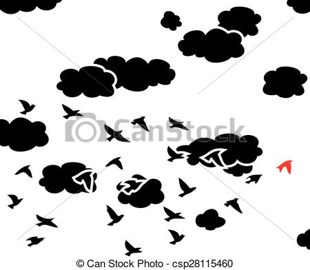 Clouds clipart bird Flying vector white Art and