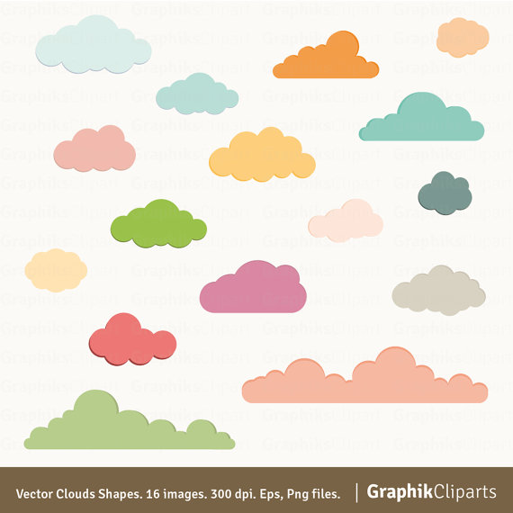 Clouds clipart cloud shape Vector Vector Baby Clouds Shapes