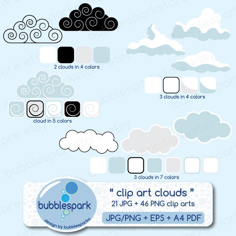 Clouds clipart cummulus Cumulus clouds digital 46 art