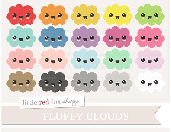 Clouds clipart kawaii ~ Creative Clipart Clipart Illustrations