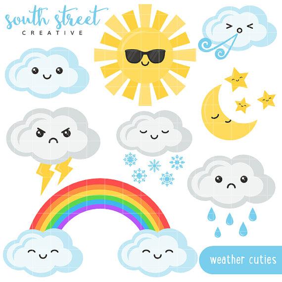 Clouds clipart kawaii SouthStreetCreative Rainbow Sun by cute