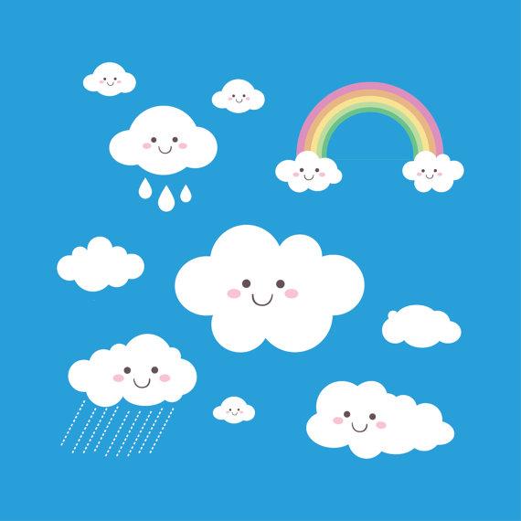 Clouds clipart cloud shape Leishop Shapes  Kawaii Clouds