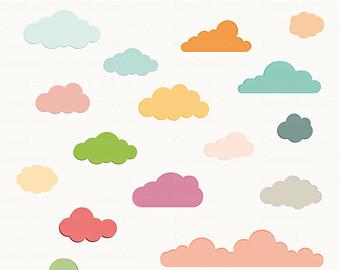 Clouds clipart cloud shape Shower Etsy Clouds Download 16