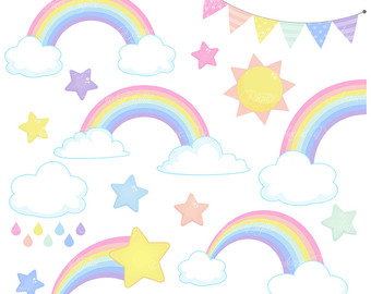 Clouds clipart spring Eps Clouds Rainbows Clipart Spring