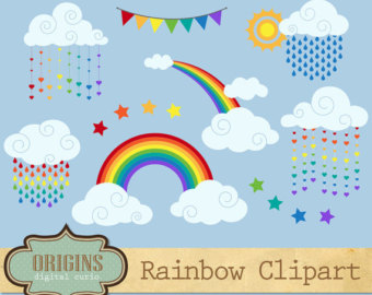 Clouds clipart spring Rainbow Spring Clipart Vector weather