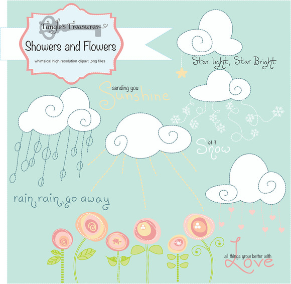 Clouds clipart whimsical Digital Flowers  And Free