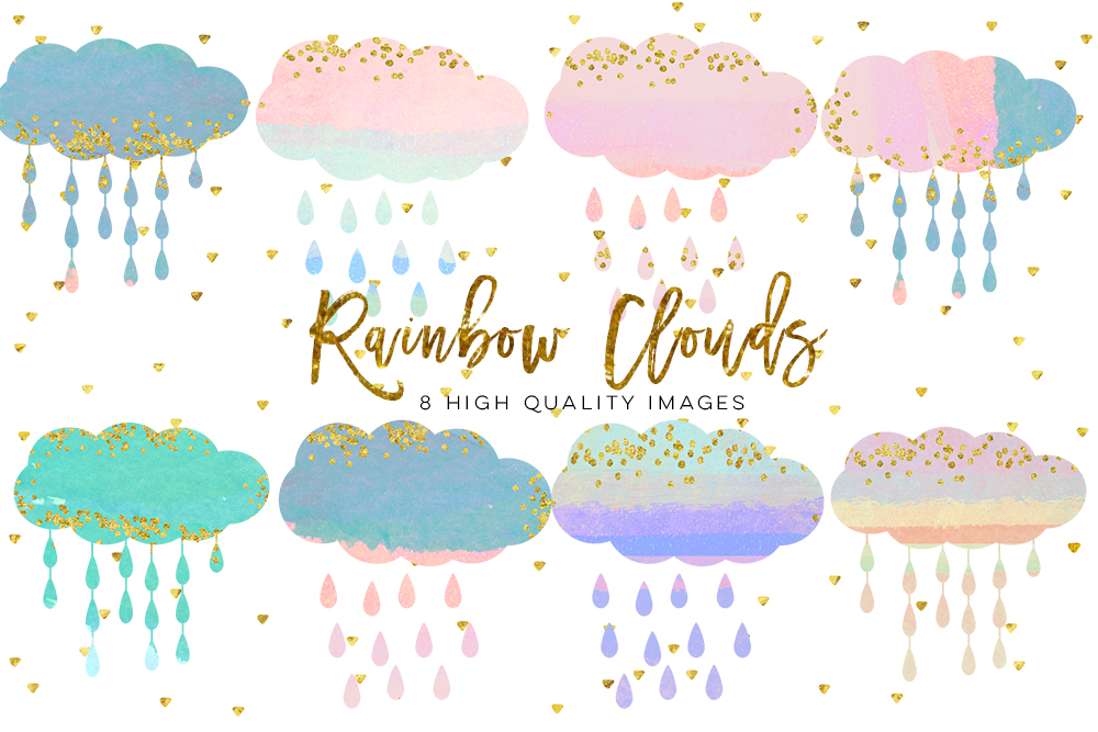Clouds clipart whimsical Watercolor art clip fluffy magical