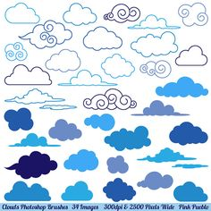 Clouds clipart drawn Weather $8 Clip Brushes Art