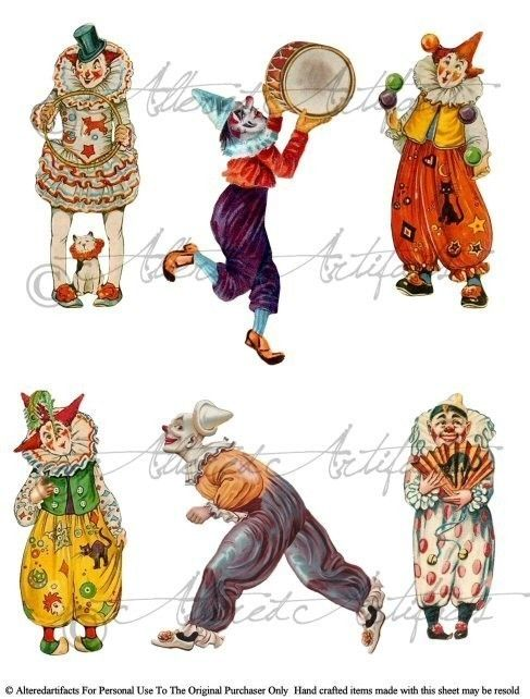 Circus clipart circus juggler Digital Around Collage Clowns Jesters