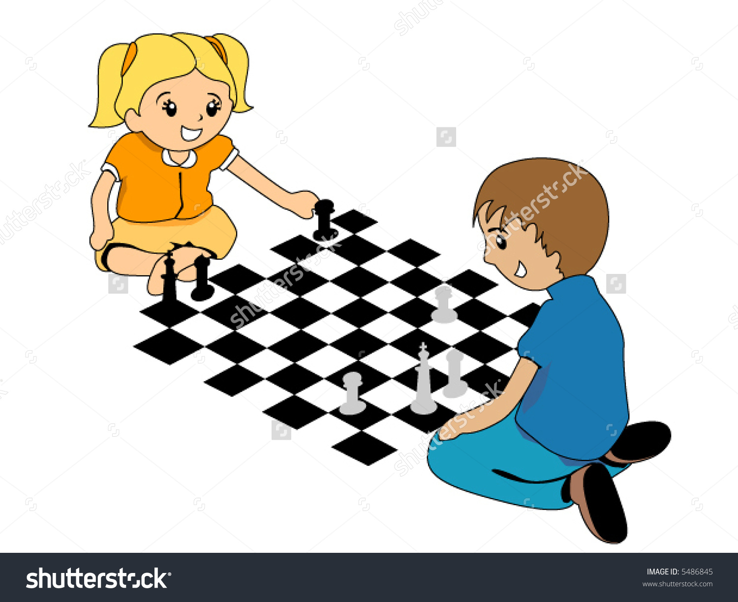 Club clipart play chess Playing Stock Kids clipart Vector