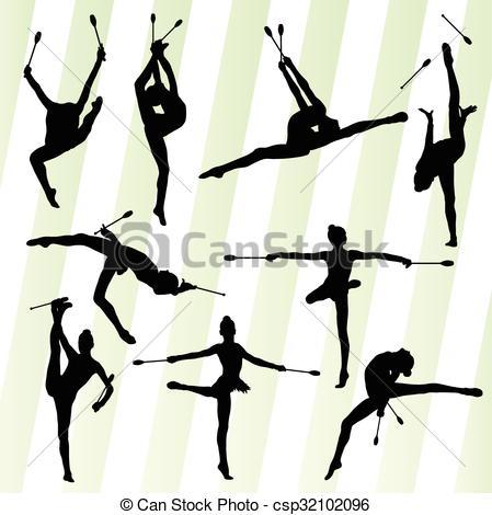 Club clipart rhythmic gymnastics Csp32102096 rhythmic set gymnastics Female
