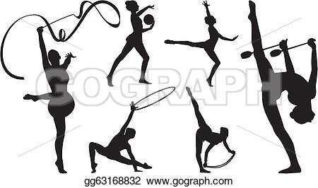 Club clipart rhythmic gymnastics Clubs gymnastics ribbon with Vector