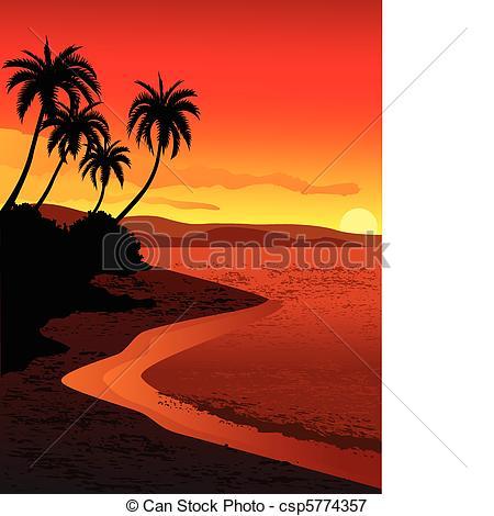 Drawn sunset mountain Beach beach  of of
