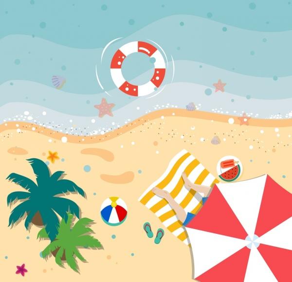 Drawn beach View beach scenery Summer view