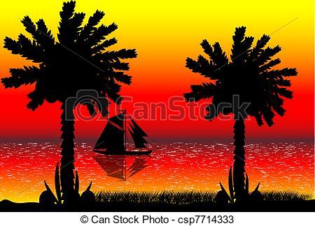Drawn sunset mountain Of beach Vector of Beach