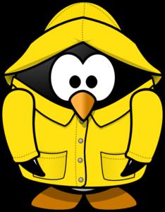 Coat clipart rainy Clip Rain Penguin Art Club