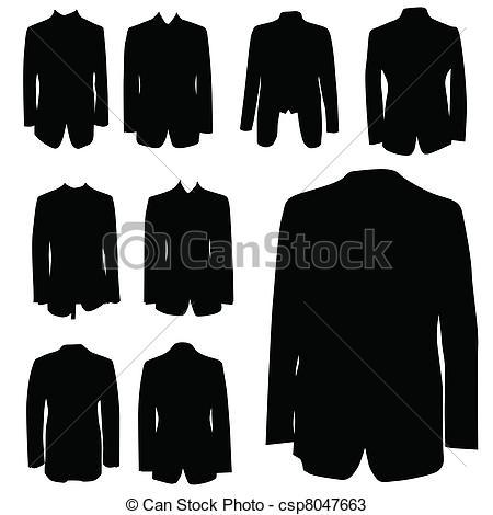 Coat clipart vector Silhouette of black coat Vector