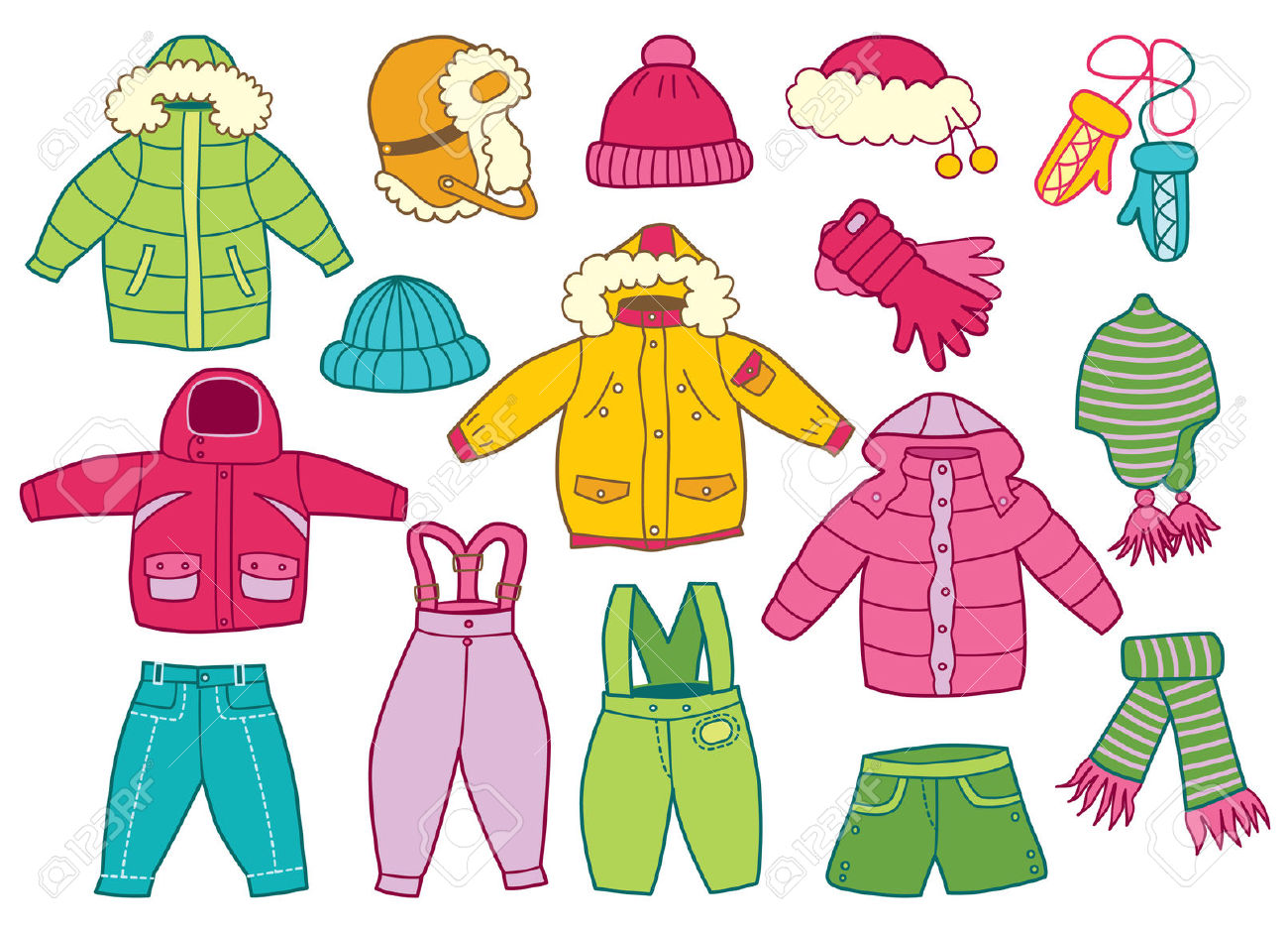 Winter clipart winter wear Winter clothes Clipart Collection clothes