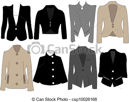 Coat clipart womens clothing Jackets of  Clip Vector