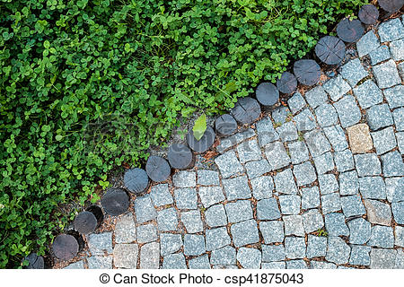 Cobblestone clipart pavement Pavement and lawn texture Short